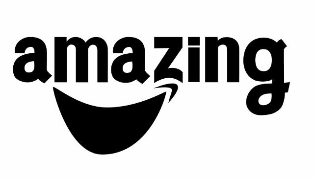 amazonロゴのパロディ:晴れのち...